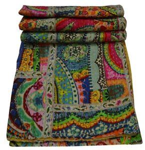 Indian Handmade Kantha Vintage Quilt Twin Gudari Throw Cotton Bedspread Blanket
