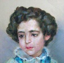 1950s Original Vintage Portrait Artwork Child Signed Framed Girl Mid Century