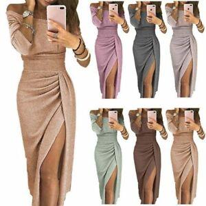 Women's Off Shoulder Bodycon Dress Long Sleeve Split Evening Party Gown Dresses