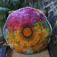 """New 32"""" Round Floor Pillow Cover Zodiac Astrology Mandala Cushion Pouf Covers"""