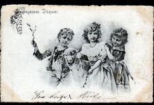 ENFANTS & MOUTONS / JOYEUSES PAQUES / illustrée Viennoise avant 1904 à MONACO