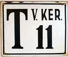 Large old Hungarian house number 11 door gate plate plaque enamel metal sign