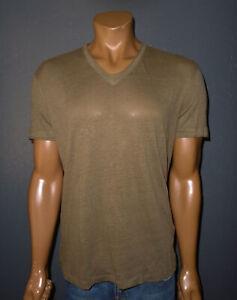 JOHN VARVATOS T-Shirt BROWN s/s V-Neck LINEN Tee Mens LARGE Lg