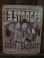 Metal 3 Stooges Rare Sign bar pub cowboy beer garage comedy western slapstick