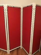 4 Panel Room Divider Privacy Faux Red Leather & Black Lace Screen