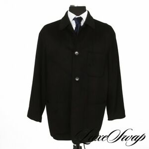 Saks Fifth Avenue Made in Italy Cashmere Blend Black Flannel 3 Patch Car Coat 52