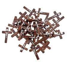 FREE Wholesale Lots 100pcs Alloy JESUS Cross Wood Beads Pendants Fit Necklace