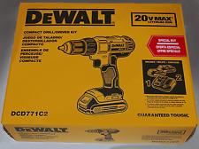"""DEWALT 20V MAX Li-Ion 1/2"""" Compact Drill Driver Kit DCD771C2 - NEW Free Shipping"""
