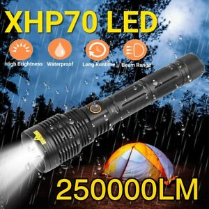 250000 Lumens LED Super Bright Zoom Flashlight Powerful Camping Lamp Torch 26650