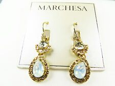 MARCHESA Gorgeous Yellow Gold Plated Clear & Milky Crystal Dangle Earrings
