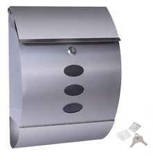 Stainless Steel Wall Mount Mail Box w/ Retrieval Door & Newspaper Roll Mailbox