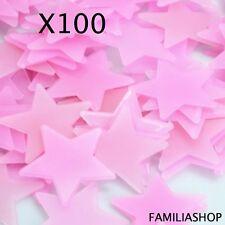 Lot 100 étoiles phosphorescentes roses lumineuse la nuit déco chambre enfant