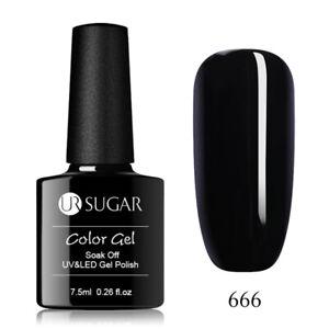 7.5ml Nail Art Soak Off UV Gel Nagellack Shiny Black Nagel LED UV Gellack Design