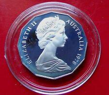 PROOF RARE 1978  AUSTRALIA 50 Fifty Cents Mintage 39K w HOLDER, White hazing.