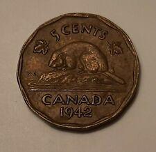 """1942 Canada 5 Cents (Tombac) Coin - King George VI   """"WORLD WAR 2 ERA COIN"""""""
