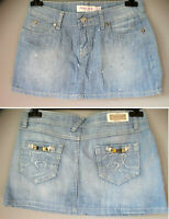 Minigonna jeans size 29 it M/L 42 44 gonna denim STRASS Rossa Miss skirt jupe