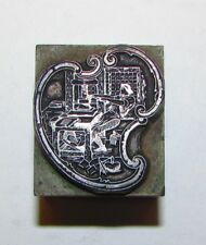 Antique Screw Press Operator Paisley Letterpress Foundry Medal Printers Block