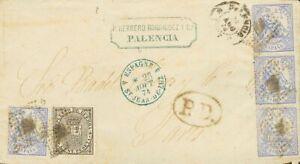 España. Sobre 145(4), 141. 1874. 10 cts azul, cuatro sellos y 5 cts IMPUESTO DE