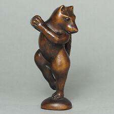 Japanese 1940's Boxwood Wood Netsuke Cartoon Fox Figurine Carving (WN283)