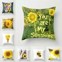"Yellow Sunflower Cushion Cover Pillow Case Cotton Flax Retro Sofa Home Decor 18"""