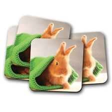 4 Set - Cute Baby Bunny Coaster - Rabbit Pet Bunnies Animal Kids Mum Gift #14578
