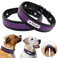 Luxury Purple Genuine Leather Dog Collar Medium Large Personalised Dog Collars