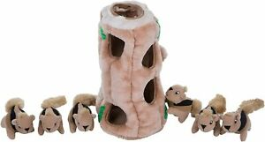 Outward Hound Hide-A-Squirrel Squeaky Puzzle Plush Dog Toy - Hide and Seek
