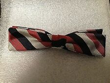 Bow Tie  Clip On Vintage Ormond  NYC   Silver, Burgundy, Black Stripe