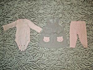Carter's Infant Baby Girl 6M Gray Fleece Dress Bodysuit Polka Dot Pants Outfit