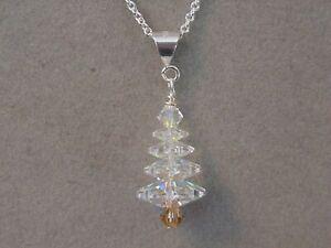 Christmas Tree Pendant Necklace made w/ Swarovski Crystal choice silver / gold