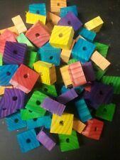 12 Large 1-1/2 X 1-1/2 X 3/4'' Wood Blocks- Bird Toy Parts-Parrot-Amazon