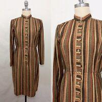 Vintage 70s Brown Striped Wool Sheath Dress Medium/Large