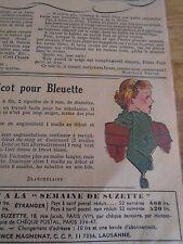 """ANCIEN PATRON POUR LA POUPEE """" BLEUETTE """" ECHARPE TRICOT FEVRIER 1947"""