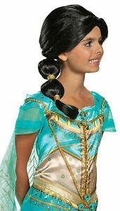 Disney Aladdin Princess Jasmine Deluxe Child Wig Long Braid Black Hair Licensed