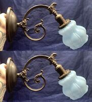 Pair of antique sconces with dark brass patina Sky Blue Shades Great! 96D