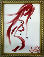Margarita Bonke Malerei PAINTING erotic EROTIK akt nu art red rot A3 black dark