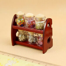 Vintage Dollhouse Miniatures 1:12 Kitchen Counter Item Jars Wood Spice Rack