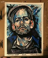 Acrylic painting of Michael Stipe R.E.M. by artist Mark Robinson July 9, 2020