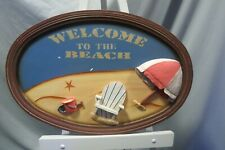 "Oval Wooden 3D Wall Art 23.5"" x 16"" Welcome To The Beach Umbrella Chair Bucket"
