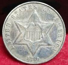 1860 Silver 3 Cent Piece Graffiti
