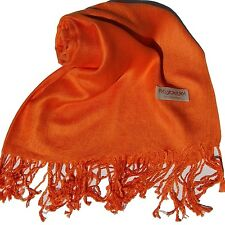 NEW Women Soft PASHMINA Cashmere SILK Classic Solid Shawl Scarf Wrap Orange #707