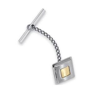 Stel IB Goodman Stainless Steel Square Tie Tack Pin 14k Yellow Gold Inlay