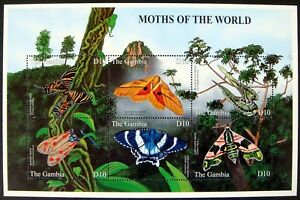 2001 MNH GAMBIA MOTHS STAMP SHEET MOTHS OF THE WORLD INSECT BUG BLACK WITCH MOTH