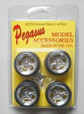 CHROME SHUEY'S RIMS w TIRES PEGASUS 1:24 1:25 CAR MODEL ACCESSORY 1279