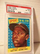 1958 Topps Hank Aaron PSA EX-MT 6 Baseball Card #448 MLB HOF Collectible