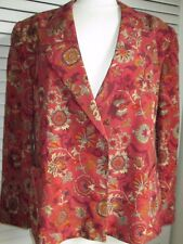 ESCADA PURE SILK JACKET SOFT RED W/FLORAL PATTERN 2 BUTTON SIGNATURE LINING SZ 3