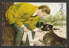 Roger Moore The Saint Vintage 1960s TV Series Postcard with Dog