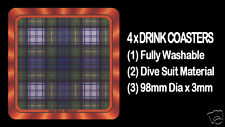 4  x  SCOTTISH TARTAN - CLAN - GORDON DRESS - DRINK COASTERS - Re-usable