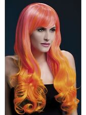Emily Wig Two Tone Pink And Orange Long New Adult Halloween Cristmas Women Fever