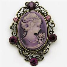 Antique VTG Look Purple CAMEO Brooch Pin Dark Lavender